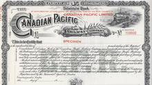 Canadian Pacific Railway Perpetual 4% Consolidated Debenture Stock certificate, c. 1980s. Unissued - specimen form. (http://www.trainweb.org/oldtimetrains)