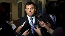 Ontario PC leader Tim Hudak speaks to media at Queen's Park in Toronto, Ont. February 22, 2011. (Kevin Van Paassen/The Globe and Mail/Kevin Van Paassen/The Globe and Mail)
