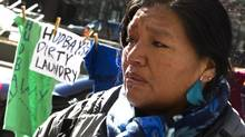 Angelica Choc, the widow of a Guatemalan activist allegedly killed by mine security, speaks Tuesday outside court in Toronto. (Peter Power/The Globe and Mail)