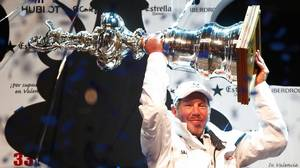 Larry Ellison, owner of US challenger BMW Oracle Racing giant trimaran celebrates on the podium after the second race of the 33rd America's Cup off Valencia's coast on February 14, 2010 in Valencia, Spain.