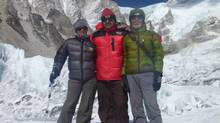 From left: Shriya Shah-Klorfine with expedition manager Rishi Kandel and Ganesh Thakuri, managing director of Utmost Adventure Trekking Pvt. Ltd., on the way to Camp 1. (From Shriya Shah-Klorfine's Facebook page)
