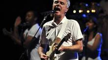 David Byrne, formerly of the new wave band Talking Heads, performs in Macedonia's capital, Skopje, in 2009. (BORIS GRDANOSKI/AP)