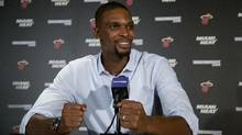 "Chris Bosh said in a podcast released Wednesday, Sept. 14, 2016, that he ""absolutely"" intends to be with his team for training camp that starts in the Bahamas on Sept. 27. (Wilfredo Lee/AP)"