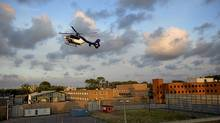 A helicopter believed to be carrying Ratko Mladic enters Scheveningen prison in The Hague on May 31, 2011. (Jerry Lampen/Reuters)