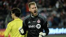Goalkeeper Clint Irwin will be out of Toronto FC's lineup for the next four to five weeks with a hamstring strain, the team announced Sunday. (Nathan Denette/THE CANADIAN PRESS)