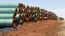 """In this Wednesday, Feb. 1, 2012 file photo, miles of pipe ready to become part of the Keystone Pipeline are stacked in a field near Ripley, Okla. President Barack Obama says that the proposed Keystone XL pipeline project from Canada to Texas should only be approved if it doesn't worsen carbon pollution. Obama says allowing the oil pipeline to be built requires a finding that doing so is in the nation's interest. He says that means determining that the pipeline does not contribute and """"significantly exacerbate"""" emissions. (Sue Ogrocki/AP)"""