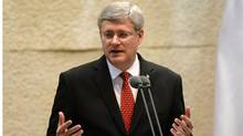 Prime Minister Stephen Harper addresses the Knesset on Monday, January 20, 2014. While in the Middle East Harper is visiting Israel, the West Bank, and Jordan. (Sean Kilpatrick/THE CANADIAN PRESS)