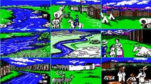 Screenshots from Oregon Trail, an educational computer game celebrating its 40th anniversary on Dec. 3.