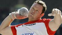Canadian Dylan Armstrong is out to win a medal at the upcoming World Championships and the 2012 London Olympic Games. (AP Photo/Matt Dunham) (Matt Dunham)