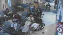 Brian Sinclair, top right in wheelchair, is shown in a screengrab from surveillance footage of his time at the Winnipeg Health Sciences Centre in September, 2008. (HANDOUT/THE CANADIAN PRESS)