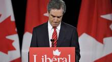 Canada's Liberal leader Michael Ignatieff pauses while addressing supporters after being defeated, at the Canadian federal election night headquarters in Toronto, May 2, 2011. Canada's ruling Conservatives were heading for a crushing victory in Monday's federal election, as the left-wing vote split between two parties and the separatist Bloc Quebecois faded to almost nothing. REUTERS/Mike Cassese (CANADA - Tags: POLITICS ELECTIONS POLITICS) (MIKE CASSESE/REUTERS)