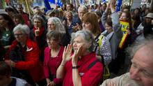 BCTF members rally in front of the BC Public School Employers' Association offices in Vancouver, British Columbia on June 10, 2014. (Ben Nelms for The Globe and Mail)