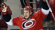 Carolina Hurricanes' Jeff Skinner celebrates his second goal against the Montreal Canadiens during the first period of an NHL hockey game in Raleigh, N.C., Wednesday, March 30, 2011. Carolina won 6-2. (AP Photo/Gerry Broome) (Gerry Broome)