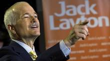 NDP Leader Jack Layton speaks to reporters at a post-election news conference in Toronto on May 3, 2011. (Nathan Denette/THE CANADIAN PRESS)