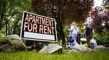 A rental sign sits outside a Vancouver apartment on June 23, 2014. (BEN NELMS FOR THE GLOBE AND MAIL)