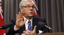 Manitoba Premier Greg Selinger responds to questions regarding the Speech from the Throne at a press conference at the Manitoba Legislature in Winnipeg, Monday, Nov. 16, 2015. THE CANADIAN PRESS/John Woods (JOHN WOODS/THE CANADIAN PRESS)