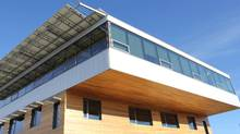 The $10.5-million Mosaic Centre, a privately constructed commercial building on the edge of Edmonton, is a net-zero building, meaning it roughly creates as much energy as it uses. Above, a portion of the roof with its array of solar panels. (Mosaic Family of Companies)