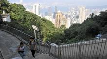 Taiking the Old Peak Road trail overlooking Hong Kong. (Margo Pfeiff)