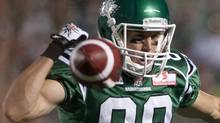Saskatchewan Roughriders slotback Chris Getzlaf can't hold on to a pass during the third quarter of CFL football action at Mosaic Stadium on Saturday July 30, 2011 in Regina. The Stampeders beat the Riders 22-18. THE CANADIAN PRESS/Liam Richards (Liam Richards/CP)