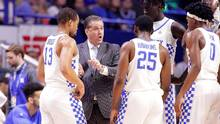 John Calipari, head coach of the Kentucky Wildcats, gives instructions to his team during the game against the Texas A&M Aggies at Rupp Arena on January 3, 2017 in Lexington, Kentucky. (Andy Lyons/Getty Images)