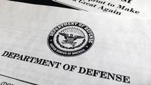A portion of President Donald Trump's first proposed budget, focusing on the Department of Defense, and released by the Office of Management and Budget, is photographed in Washington, Wednesday, March 15, 2017. (Jon Elswick/AP)