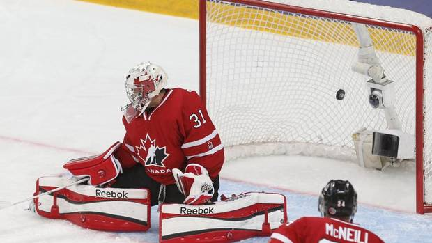 Canada's goalie Jordan Binnington lets in a goal by Russia during the first period of their bronze medal game at the 2013 IIHF U20 World Junior Hockey Championship in Ufa January 5, 2013. (MARK BLINCH/REUTERS)