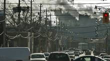 Emissions spew from a power plant near downtown Toronto in 2006. (Kibae Park for The Globe and Mail)