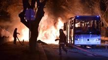Firefighters battle a blaze after an explosion in Ankara, Turkey, on Feb. 17. (REUTERS)