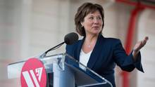 British Columbia Premier Christy Clark speaks while attending a commissioning ceremony for two new Seaspan LNG-fuelled vessels in Delta, B.C., on April 9, 2017. (DARRYL DYCK/THE CANADIAN PRESS)