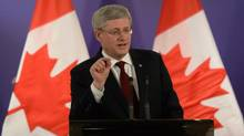 Prime Minister Stephen Harper speaks during a closing press conference following the Nuclear Security Summit in The Hague. (SEAN KILPATRICK/THE CANADIAN PRESS)