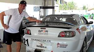 Marc-Andre Bergeron and his Mazda RX-8 race car