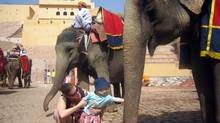 Mirrored walls, secret passages and elephant rides are among the thrills to be had at the Amber Fort in Jaipur. Here, Stephanie Nolen and her son get friendly with the pachyderms.