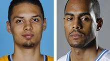 FILE - From left are Denver Nuggets NBA basketball player Evan Fournier in a 2012 file photo and Orlando Magic player Arron Afflalo, in a 2013 file photo. A person with knowledge of the situation says the Nuggets have acquired guard Arron Afflalo from the Magic for point guard Evan Fournier and the No. 56 pick in the draft. (AP)