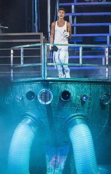 Justin Bieber performs in Philadelphia last week above a giant urine-removal device installed by local authorities as a precautionary measure. (Mark Stehle/AP)