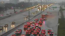 A highway camera catches traffic chaos cause by heavy flooding in Burlington, Ont. Aug. 04, 2014