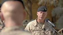 Brigadier-General Jonathan Vance addresses a parade in Kandahar last October. Brig.-Gen. Vance is taking over Canada's mission in Kandahar after Brig.-Gen. Daniel Menard was relieved of that command due to disciplinary proceedings. (MCpl Matthew McGregor)