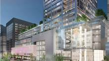 Architect's rendering of the proposed building at 50 Bloor St. West, Toronto.