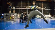 Performers from 45 Degrees, Cirque du Soleil's events and special projects company, rehearse for their upcoming performance at the NBA All-Star game in Toronto. (Mark Blinch for The Globe and Mail)