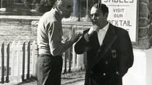 Producer John Kemeny, left, confers with executive producer Gerald Schjneider in Ste. Agathe des Monts, Quebec.