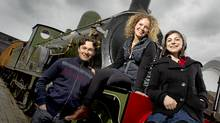 Three of the young stars of The Railway Children on the old locomotive at The Roundhouse in Toronto on April 28, 2011. From left, Harry Judge, Kate Besworth, and Natasha Greenblatt. (Peter Power/Peter Power/The Globe and Mail)