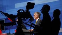 Jon Huntsman is shown during a Republican Party presidential candidates debate in Orlando, Fla., Sept. 22, 2011. Huntsman Corp., the company his father founded, seems much better positioned for gains over the next 12 months. (Scott Audette / Reuters)