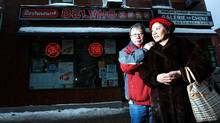 David Lee and his wife Ming Gee Wong pose outside the Beijing Restaurant in Montreal's downtown Chinatown. The restaurant used to be the Lee's grocery story but they sold up as their children did not want to take over the family business. (Christinne Muschi/Christinne Muschi)