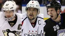 Sidney Crosby, Alex Ovechkin and Martin St. Louis