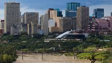 The Cloverdale Footbridge is seen against the city skyline in Edmonton, Alta., on Thursday, July 21, 2016. (Codie McLachlan for the Globe an/Codie McLachlan for the Globe an)