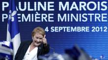 Parti Québécois Leader Pauline Marois addresses party supporters in Montreal after winning a minority government in the Quebec provincial election, Sept. 4, 2012. (Christinne Muschi/REUTERS)
