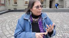 Marcia Brown Martel speaks outside Osgoode Hall in Toronto, on Dec. 4, 2013. (Diana Mehta/THE CANADIAN PRESS)