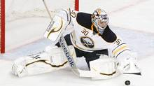 Buffalo Sabres goalie Ryan Miller stops a shot in the third period against the New York Rangers during their NHL hockey game at Madison Square Garden in New York, March 23, 2012. (Reuters)