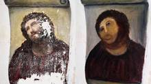In August, a 19th-century head-and-shoulder mural painting of Jesus in a small Spanish church was ruined by an amateur restorer who made the Saviour look like a humanoid hedgehog. Her work quickly became an Internet meme, and is now a tourist attraction in her home town of Borja, in northeastern Spain. (Centro de estudios Borjanos/AP)