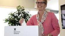 Ontario Liberal leader Kathleen Wynne casts her ballot in Toronto on Thursday June 12, 2014. THE CANADIAN PRESS/Frank Gunn (Frank Gunn/THE CANADIAN PRESS)