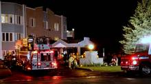 Fire crews attend to a fire at a retirement home in Hawkesbury, Ont., on Friday. (Tonya Fawn/The Canadian Press)